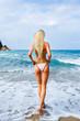 Back view of sexy woman in bikini walking in water on beach