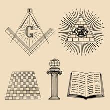 Vector Masonic Symbols Set. Sa...
