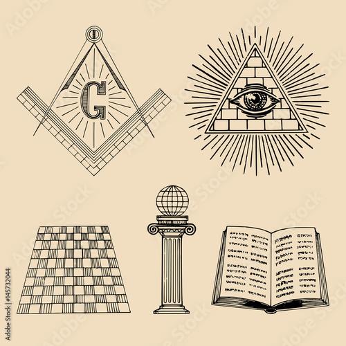 Fényképezés  Vector masonic symbols set
