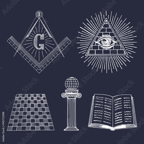 Photo  Vector masonic symbols set