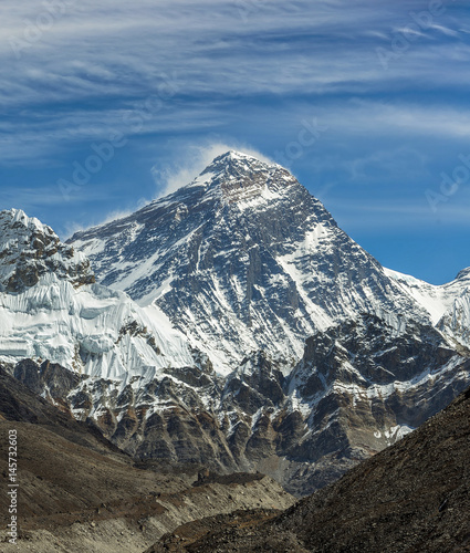 Valokuva View of Mount Everest (8848 m) from the fifth lake Gokyo - Nepal, Himalayas
