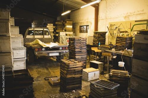 Staande foto Industrial geb. Hive frames in warehouse