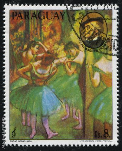 Obrazy Edgar Degas  ballerina-and-the-portrait-of-richard-wagner-by-edgar-degas