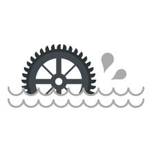 Big Waterwheel Icon Isolated