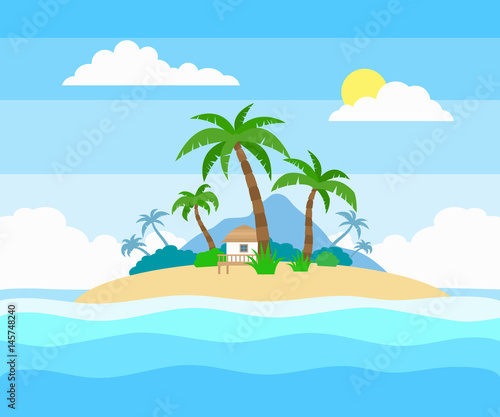 Foto op Aluminium Blauw tropical island in the ocean with palm trees and bungalow flat style illustration