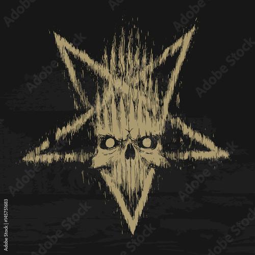 Photo  pentagram skull grunge rock music black poster