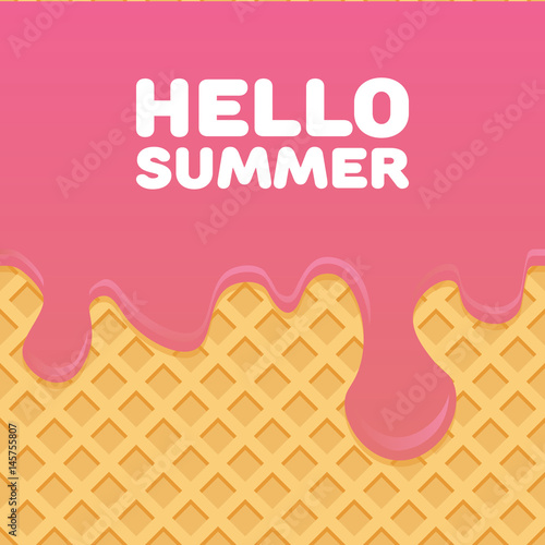 Photo  Hello Summer letters in Ice cream pattern cream and wafle texture vector illustr