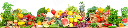 Vegetables and fruits background - 145756412