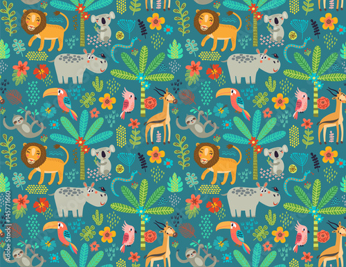 Seamless pattern with jungle animals Fototapete