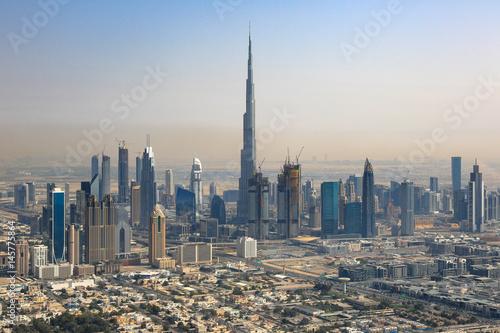 Fototapeta Dubai Skyline Burj Khalifa Downtown Aerial Aerial View