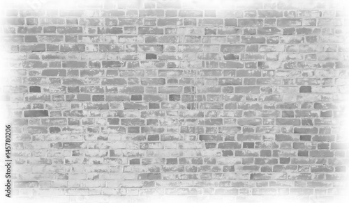 Garden Poster Brick wall Pale gray brick wall in the style drawn pictures.