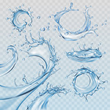 Set vector illustrations water splashes and flows, streams of various shapes. Design elements