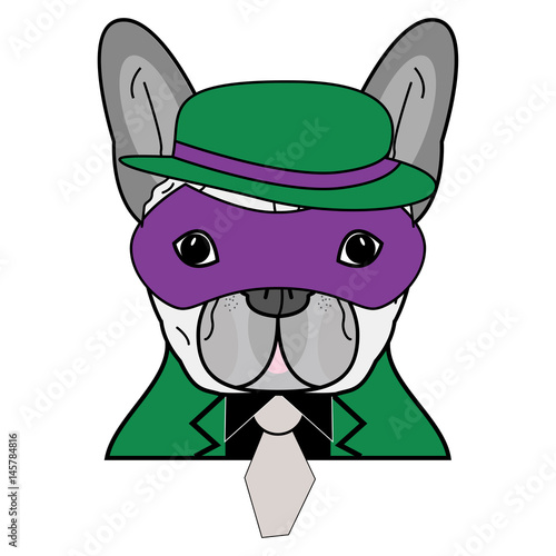 Comic Villain symbol in green suite with gray tie, purple mask and green and pur Wallpaper Mural