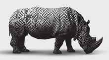 Vector Rhinoceros Illustration Black And White Illustration. Polygonal  Line- Art.