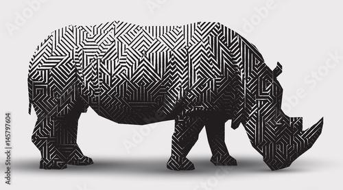 Fotografija  Vector rhinoceros illustration black and white illustration