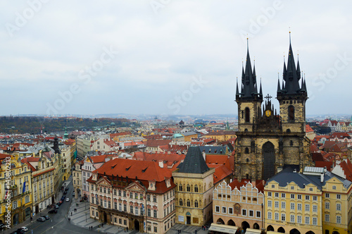 Fototapety, obrazy: Main square of old town in Prague. Old tiled roofs of the old place. Czech Republic
