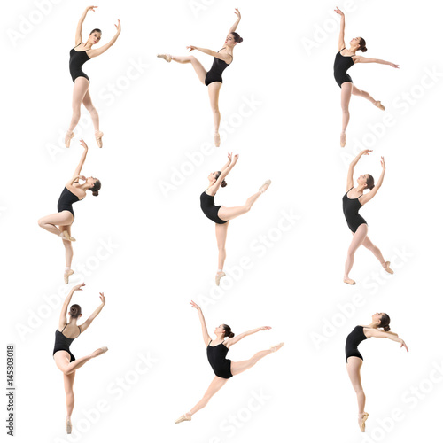 Photo  Collage of beautiful ballet dancer on white background