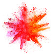 canvas print picture - Explosion of colored powder on white background