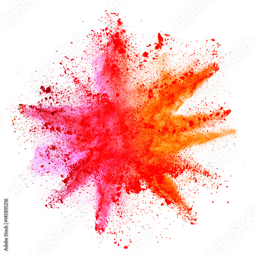 Explosion of colored powder on white background Tablou Canvas