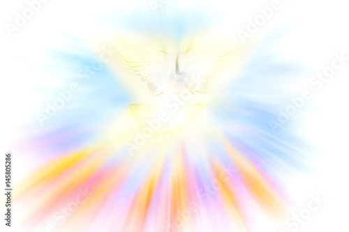 Holy Spirit, Pentecost or Confirmation symbol with a dove, and bursting rays of flames or fire Canvas-taulu