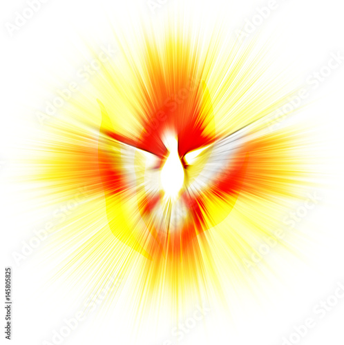 Valokuvatapetti Holy Spirit, Pentecost or Confirmation symbol with a dove, and bursting rays of flames or fire