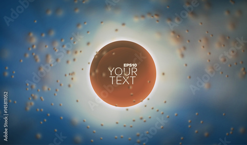 3d abstract vector sphere in depth and cloud of blurred particles. Background for banner or title