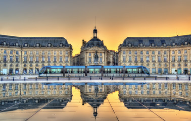 Place de la Bourse reflecting from the water mirror in Bordeaux, France