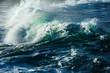 Big stormy ocean wave. Blue water background