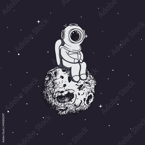 Diver like a astronaut sits on asteroid Wallpaper Mural