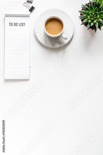 business plan with to do list on white background top view mock up