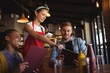 canvas print picture - Waitress taking order at restaurant