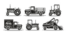Farm Transport, Set Icons. Agr...