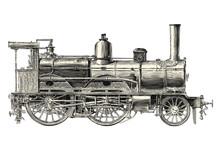 Retro Transportation And Travel Engraving / Drawing: Vintage Locomotive - Vector Design Element