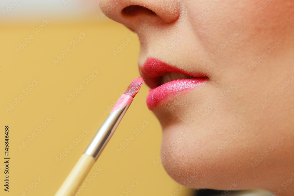 Close up woman getting make up, lips Poster