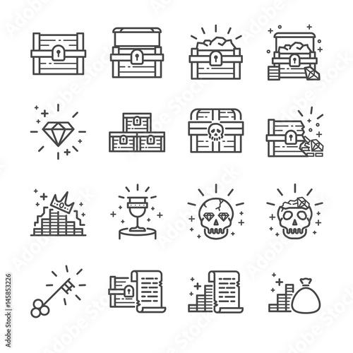 Cuadros en Lienzo Treasure chest line icon set