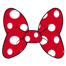 Perfect Bow Of Red Fabric White Dots Pattern