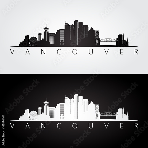 Vancouver skyline and landmarks silhouette Wall mural