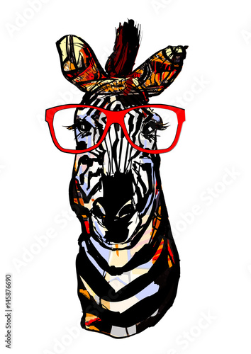 Poster de jardin Art Studio Zebra with sunglasses