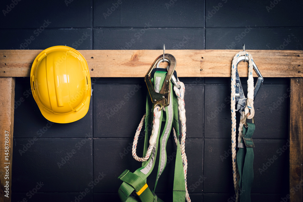 Fototapeta Standard construction safety ,helmet, fall protection