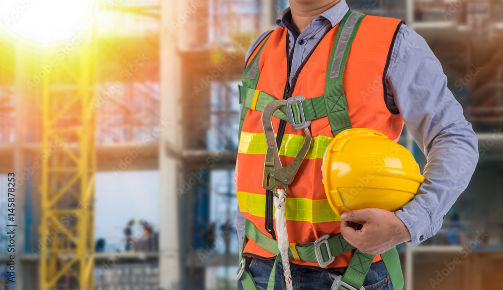 Fototapety, obrazy: engineer wear fall arrest equipment on site  background