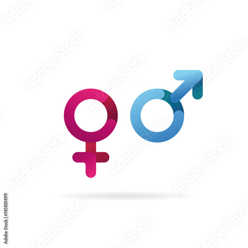 Gender Symbol Sex Icons Pink And Blue Isolated Vector Buy This