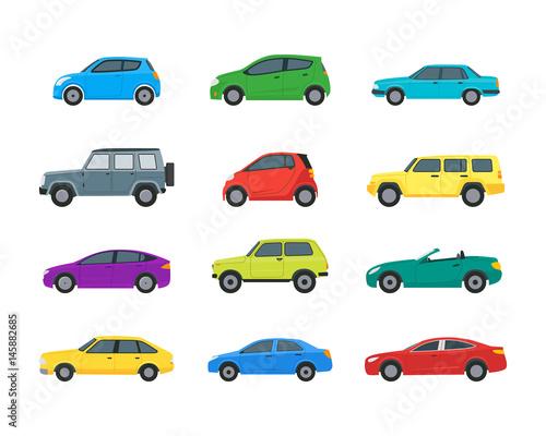 Staande foto Cartoon cars Cartoon Cars Color Icons Set. Vector