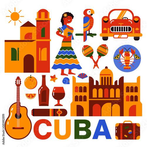 Cuba Havana travel illustration Wallpaper Mural