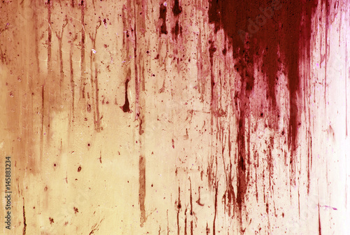 Fotografia Halloween background. Blood on metal wall background