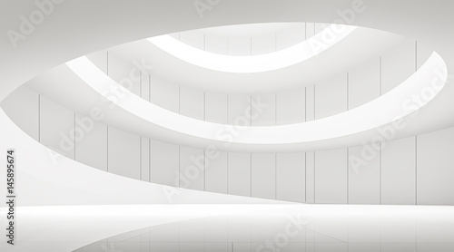 Valokuva  modern white space interior with spiral ramp 3d rendering image