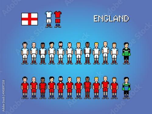 Fototapeta  England football player uniform pixel art game illustration