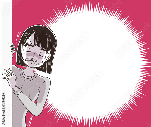 ショックを受ける女性(ふきだし付き) Tablou Canvas