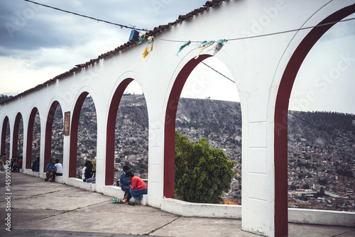 Fotobehang Zuid-Amerika land Aerial view to town