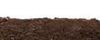 Leinwanddruck Bild - Handful of dark brown soil isolated on white background