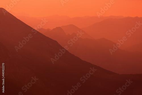 Printed kitchen splashbacks Purple Colorful mountain landscapes.Sunset